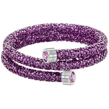 Fioletowa bransoletka SWAROVSKI Heart Double Bangle 5278497 23375
